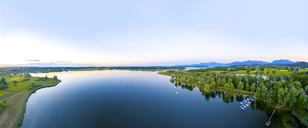 Germany, Bavaria, Rimsting, View over Chiemsee, Schafwaschener Winkel, bay in the evening - MMAF00445