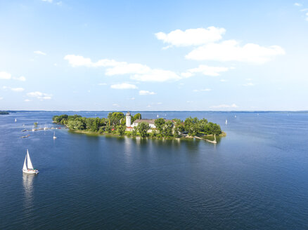 Germany, Bavaria, Chiemsee, Aerial view of Fraueninsel - MMAF00448