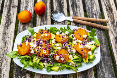 Green salad with fried apricots, avocado, feta cheese and radish sprouts - SARF03869