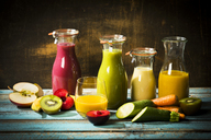 Various smoothies, fruits and vegetables - MAEF12682