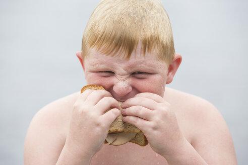 Portrait of boy eating sandwich - ISF19568
