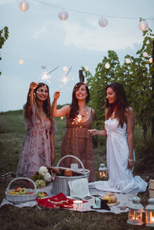 Friends having a picnic in a vinyard, burning sparklers - MAUF01647