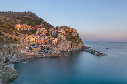 Italy, Liguria, La Spezia, Cinque Terre National Park, Manarola in the evening light - RPSF00215