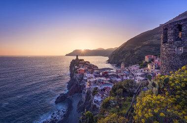 Italy, Liguria, La Spezia, Cinque Terre National Park, Vernazza at sunset - RPSF00224
