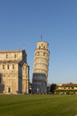 Italy, Tuscany, Pisa, View to Pisa Cathedral and Leaning Tower of Pisa from Piazza dei Miracoli in the evening light - RPSF00228