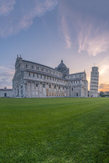 Italy, Tuscany, Pisa, View to Pisa Cathedral and Leaning Tower of Pisa from Piazza dei Miracoli at sunset - RPSF00234
