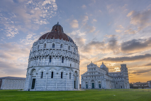 Italy, Tuscany, view of Pisa Baptistery, Pisa Cathedral and Leaning Tower of Pisa at Piazza dei Miracoli at sunset - RPSF00237