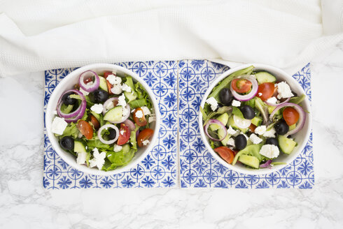 Two bowls of Greek salad - LVF07374
