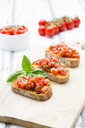 Bruschetta with tomato, basil, garlic and white breah - LVF07377