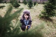 Boy, child looking through the branches of a Christmas tree on a Christmas tree farm. - MINF05139