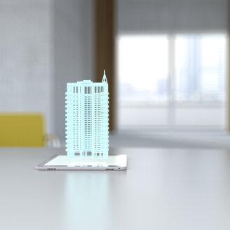 3D rendering, Hologram of building on digital tablet on desk - UWF01425