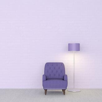 3D rendering, Purple armchair and floor lamp against wall - UWF01437