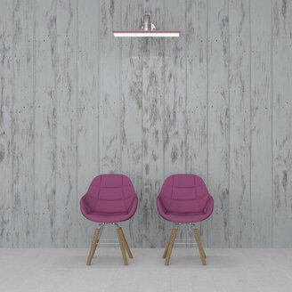3D rendering, Two chairs in front on wall, lit by wall lamp - UWF01440