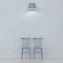 3D rendering, Two chairs in front on wall, lit by wall lamp - UWF01443