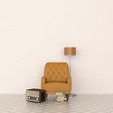 3D rendering, Leather armchair and floor lamp with radio and stack of books - UWF01446