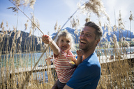 Austria, Tyrol, Walchsee, happy father carrying daughter in reeds at the lakeshore - JLOF00161
