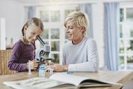 Mother and daughter using microscope at home - RORF01386