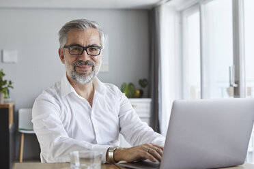 Portrait of smiling mature man using laptop at home - RBF06467