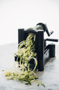 Making zucchini noodles, zoodles, spiral vegetable slicer - IPF00472