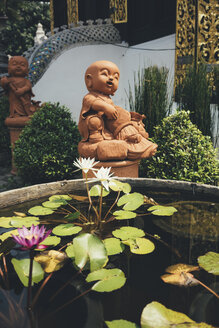Thailand, Chiang Mai, Buddha statues and pond of water lilies in Wat Inthakhin Sadue Muang temple - GEMF02257