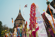 Thailand, Chiang Mai, Decorations to celebrate the New Year at the Wat Lok Moli Buddhist temple - GEMF02263