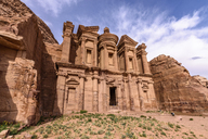 Exterior view of the rock-cut architecture of El Deir or The Monastery at Petra, Jordan. - MINF07502