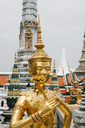 Thailand, Bangkok, Golden statue and Thai style old buildings - GEM02279