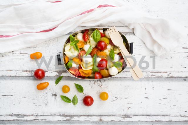 Tortellini salad with tomato, mozzarella and basil in lunch box - LVF07392