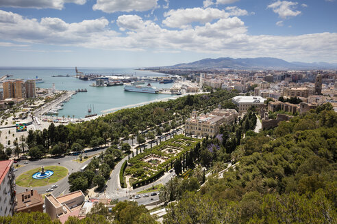 Spain, Andalusia, Malaga, Old town, townhall and harbour - WIF03566