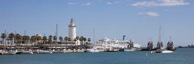 Spain, Andalusia, Malaga, Panoramic view of harbour, lighthouse La Farola de Malaga - WIF03572