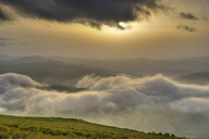 Albania, Fier County, View from Byllis, landscape, morning fog and morning sun - SIEF07856