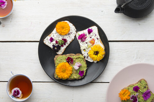 Toast with avocado hummus and sprad cheese with edible flowers - SKCF00526