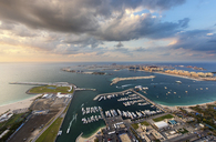Aerial view of the cityscape of Dubai, United Arab Emirates, with skyscrapers and the marina in the foreground. - MINF08046