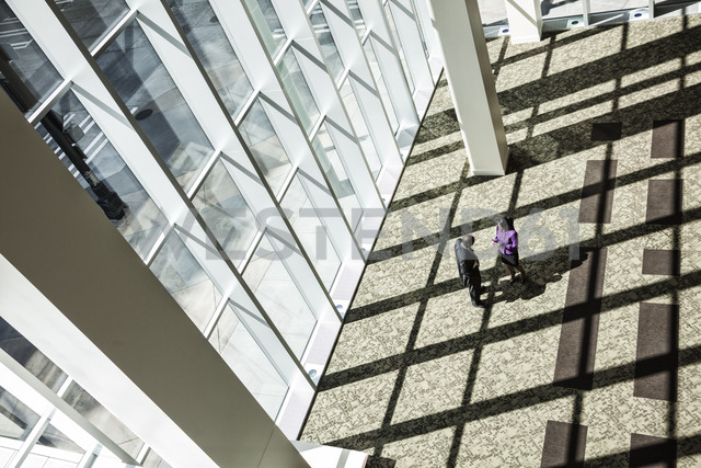 Black businessman and woman meeting next to a large bank of windows in the lobby of a large business centre. - MINF08254