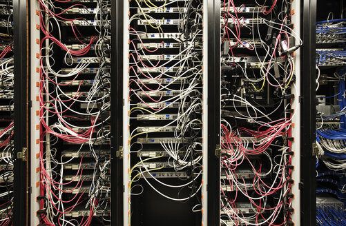 Closeup of  CAT 5 cable bundle system in a computer server room - MINF08305