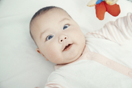 Smiling baby lying on bed, portrait - AZF00088