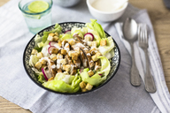 Bowl of Caesar salad with meat and red radish - GIOF04123