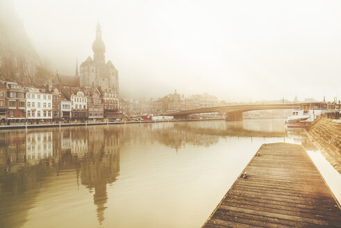 Belgium, Dinant, cityscape with Meuse river at dawn - KIJF01998