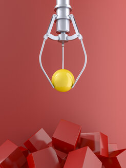 3D rendering, Claw holding yellow ball over pile of red cubes - AHUF00510