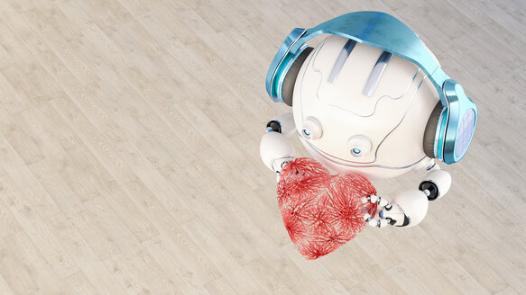 3D rendering, Little drone with headphones holding heart - AHUF00519