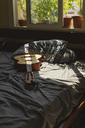 Acoustic guitaron top of a bed with sunlight coming through the window - AFVF01397