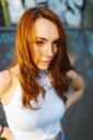 Portrait of serious redheaded woman - GIOF04191