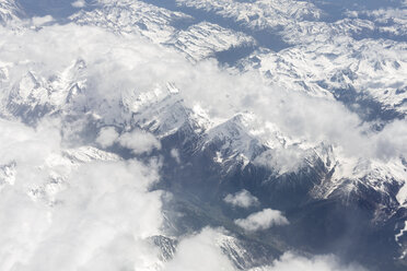 Morocco, snow-covered Atlas mountains, aerial view - MMAF00484
