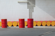 Morocco, row of oil drums - MMAF00493