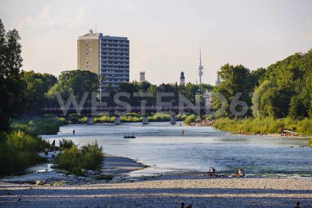 Germany, Munich, View of the Flaucher with TV tower in background - SIEF07897