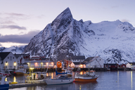 Fishing boats moored in harbour of settlement, with snow-capped mountains behind. - MINF08796