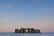 View of Stonehenge, Wiltshire, England at sunrise in winter. - MINF08898