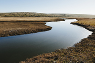 The open spaces of marshland and water channels. Flat calm water. - MINF08916