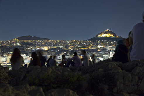 Greece, Athens, Areopagus and people at night - MAMF00205