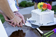 A newly wed couple cuts their cake together in Dayton, Nevada. - AURF00882